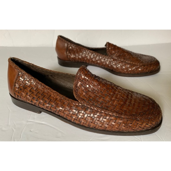 39d9f31305a Cole Haan Shoes - Cole Haan • Brown Woven Leather Loafers